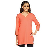 Denim & Co. Essentials Perfect Jersey 3/4 Sleeve V-Neck Tunic - A213088