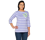 Bob Mackie Floral Applique Jewel Neck Striped Top w/ 3/4 Sleeves - A221788
