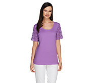 Liz Claiborne New York Short Sleeve Lace Sleeve T-shirt - A232488
