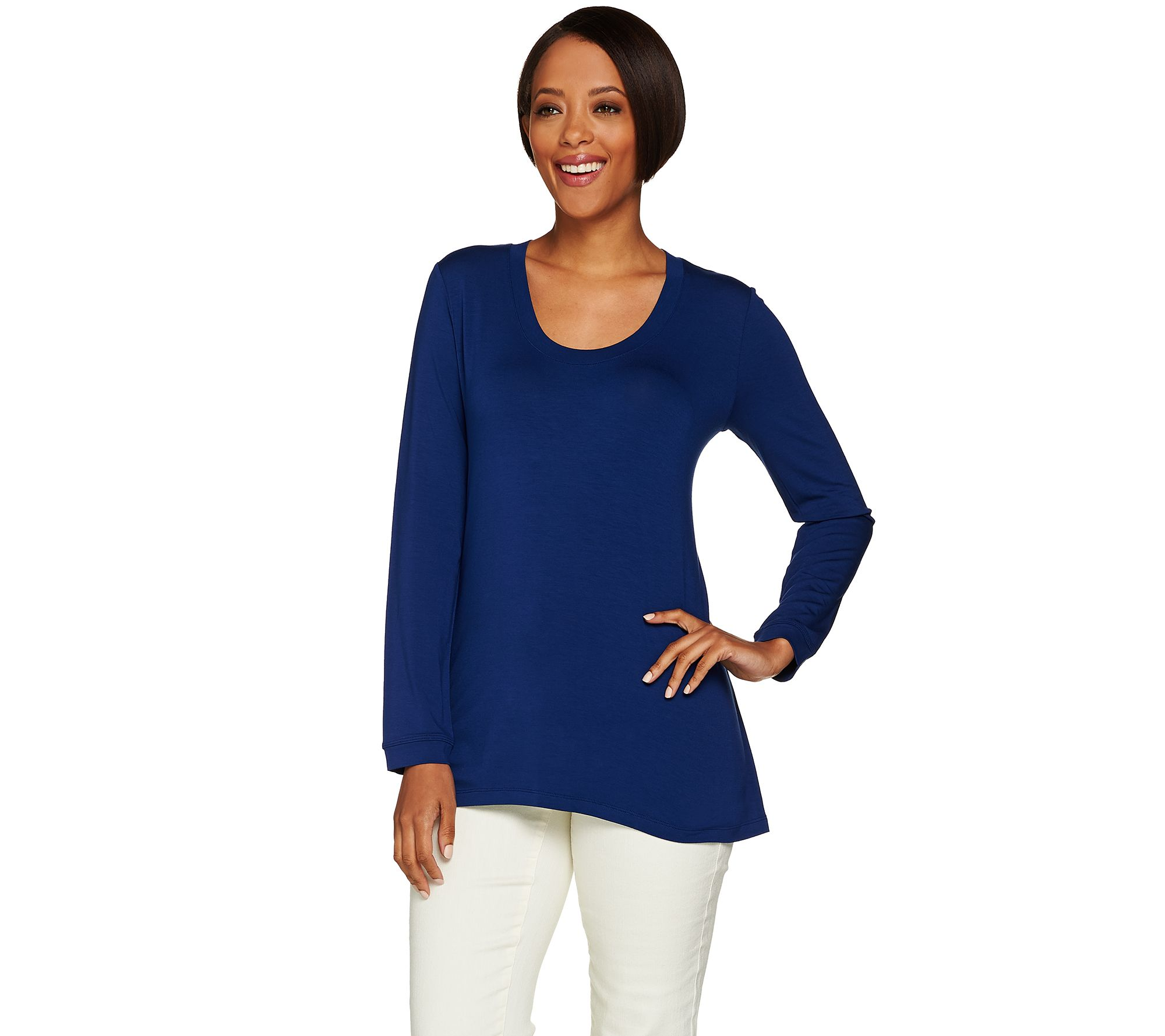 H By Halston Essentials Solid Scoop Neck Long Sleeve Knit Top Page