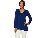 H by Halston Essentials Solid Scoop Neck Long Sleeve Knit Top - A234888