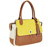 Isaac Mizrahi Live! Bridgehampton Colorblock Leather Satchel - A251188
