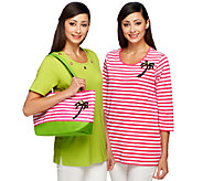 Quacker Factory Set of Two Summertime T-shirts and Tote - A252088
