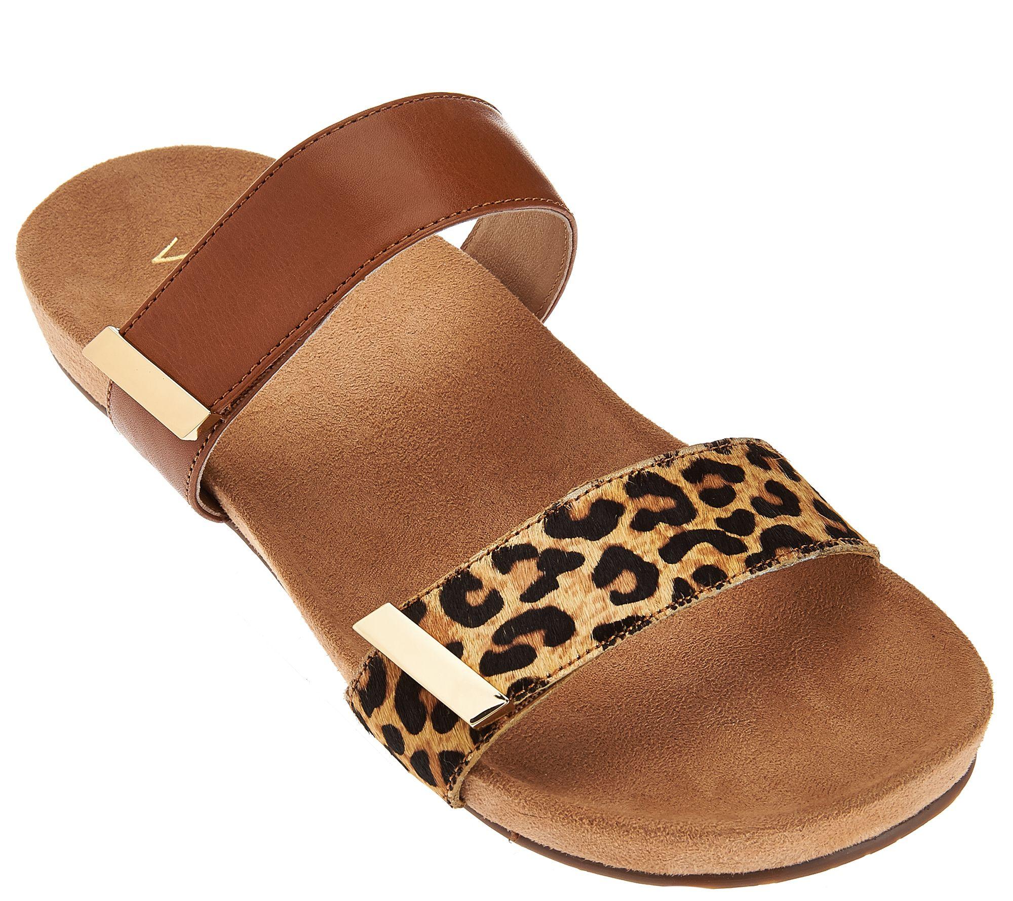 dcff682b3d9b Vionic Orthotic Leather and Haircalf Slide Sandals - Jura - Page 1 — QVC.com