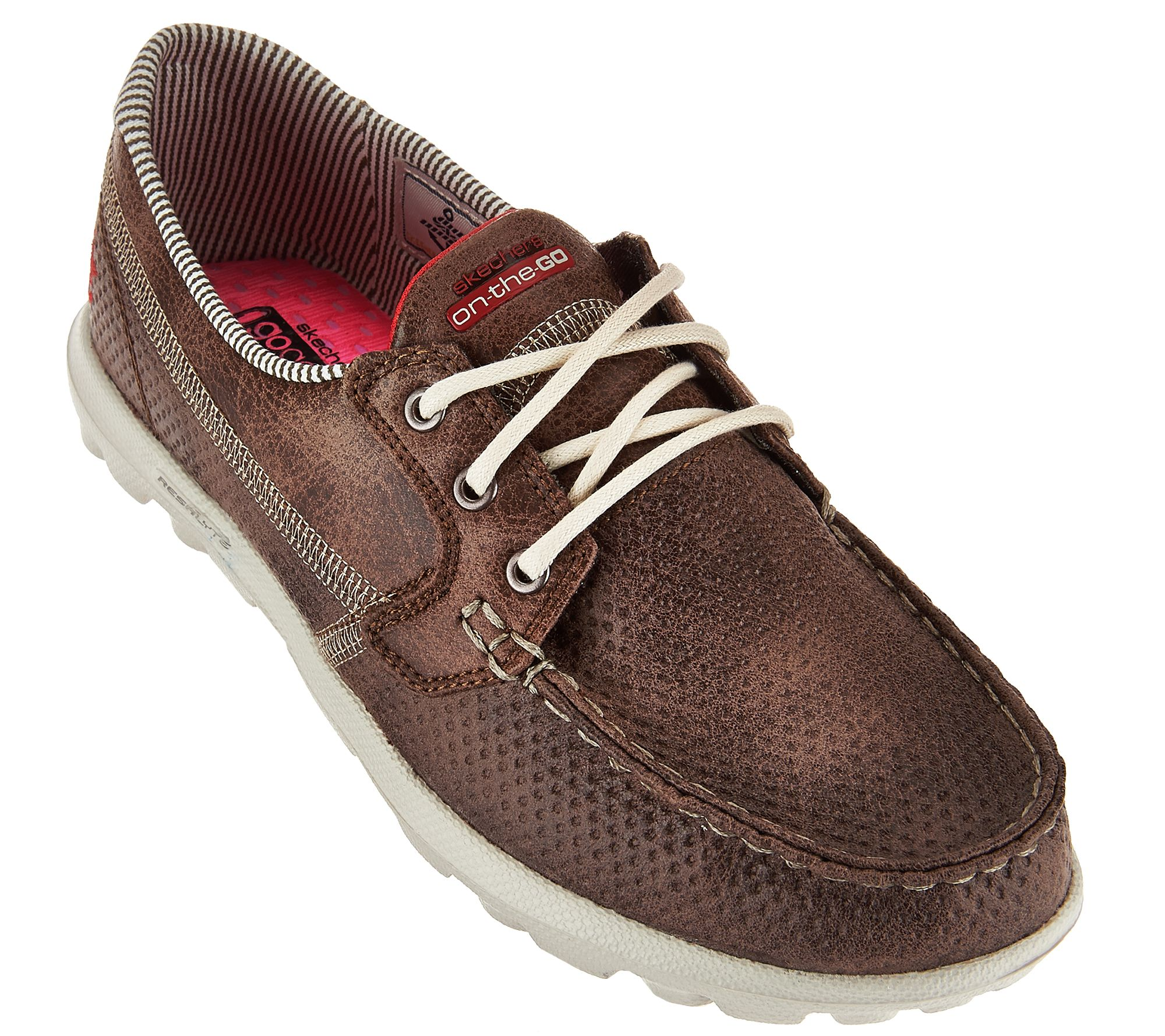 skechers on-the-go embossed lace-up boat shoes