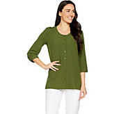 Linea by Louis DellOlio Faux de Chine 3/4 Sleeve Blouse - A288388