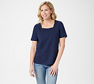 Bob Mackie Square Neck Short Sleeve Knit Top - A292288