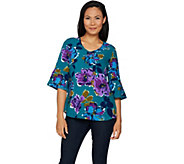 Studio by Denim & Co. Floral Print 3/4 Bell Sleeve Woven Top - A294088