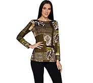Susan Graver Printed Brushed Liquid Knit Long Sleeve Top - A298488
