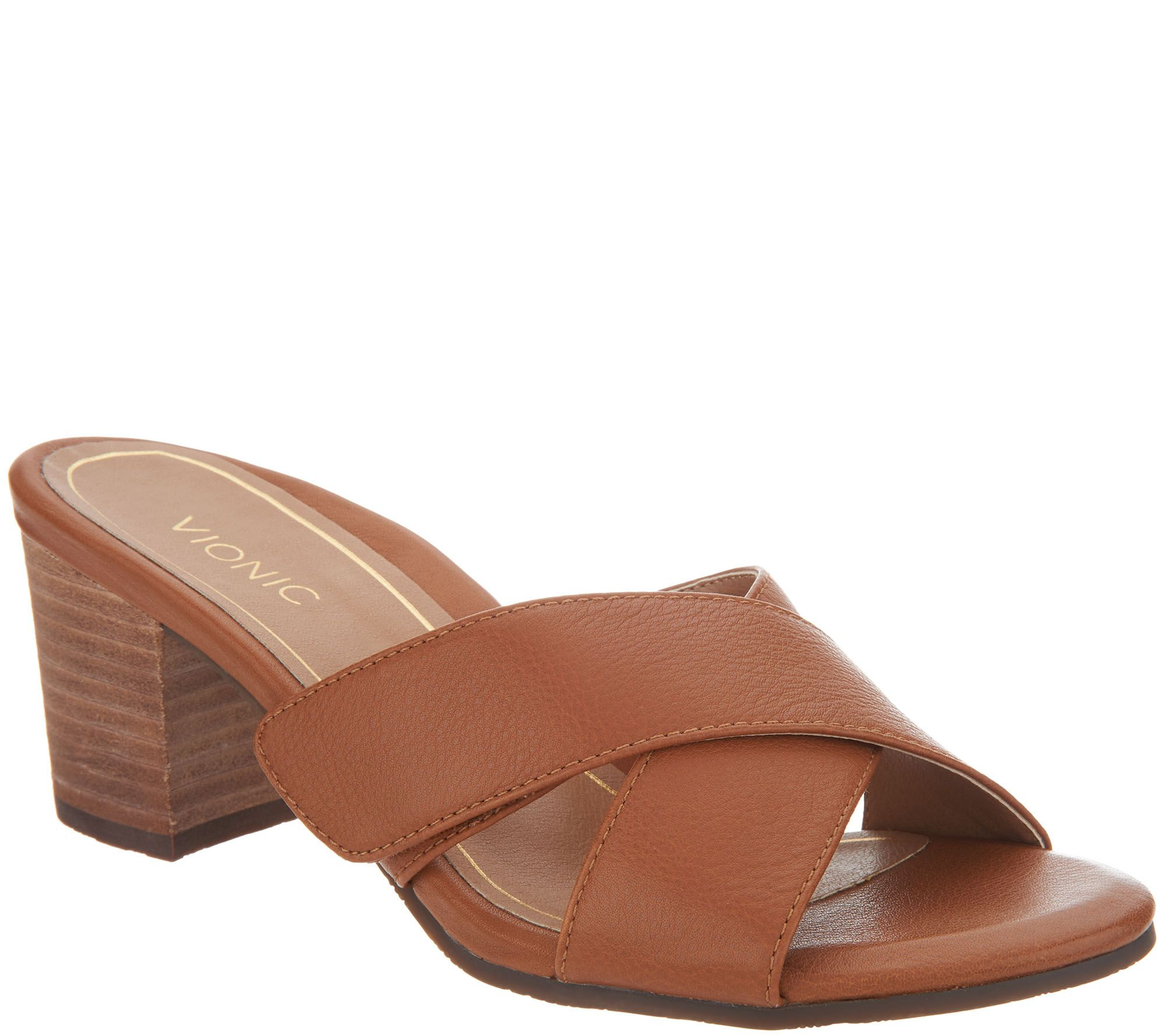 Vionic Leather Cross Strap Heel - Lorne real cheap really buy authentic online my0CY