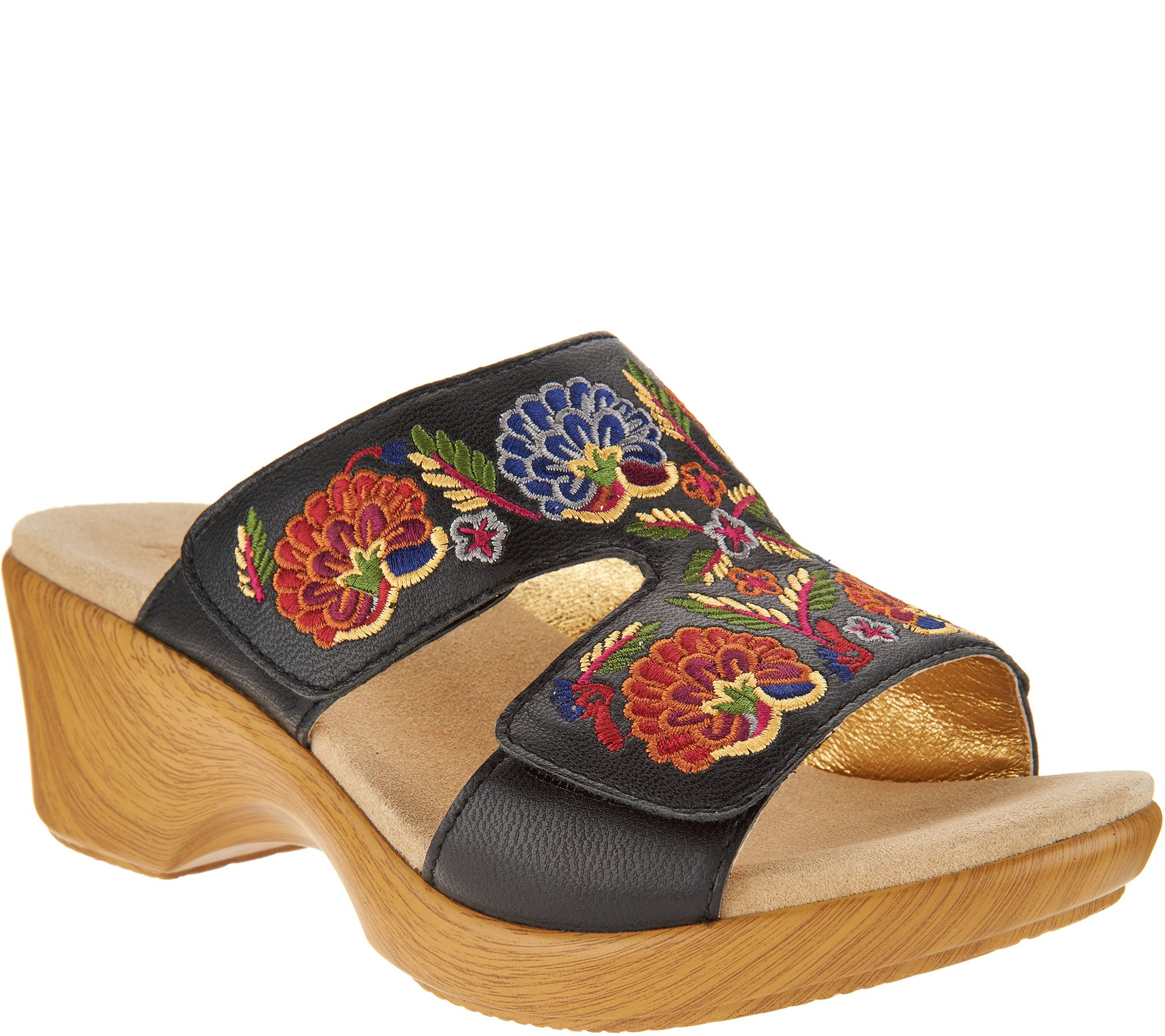 58fbf96a47b4 Alegria Embroidered Leather Slip-on Wedge Sandals - Linn - Page 1 — QVC.com