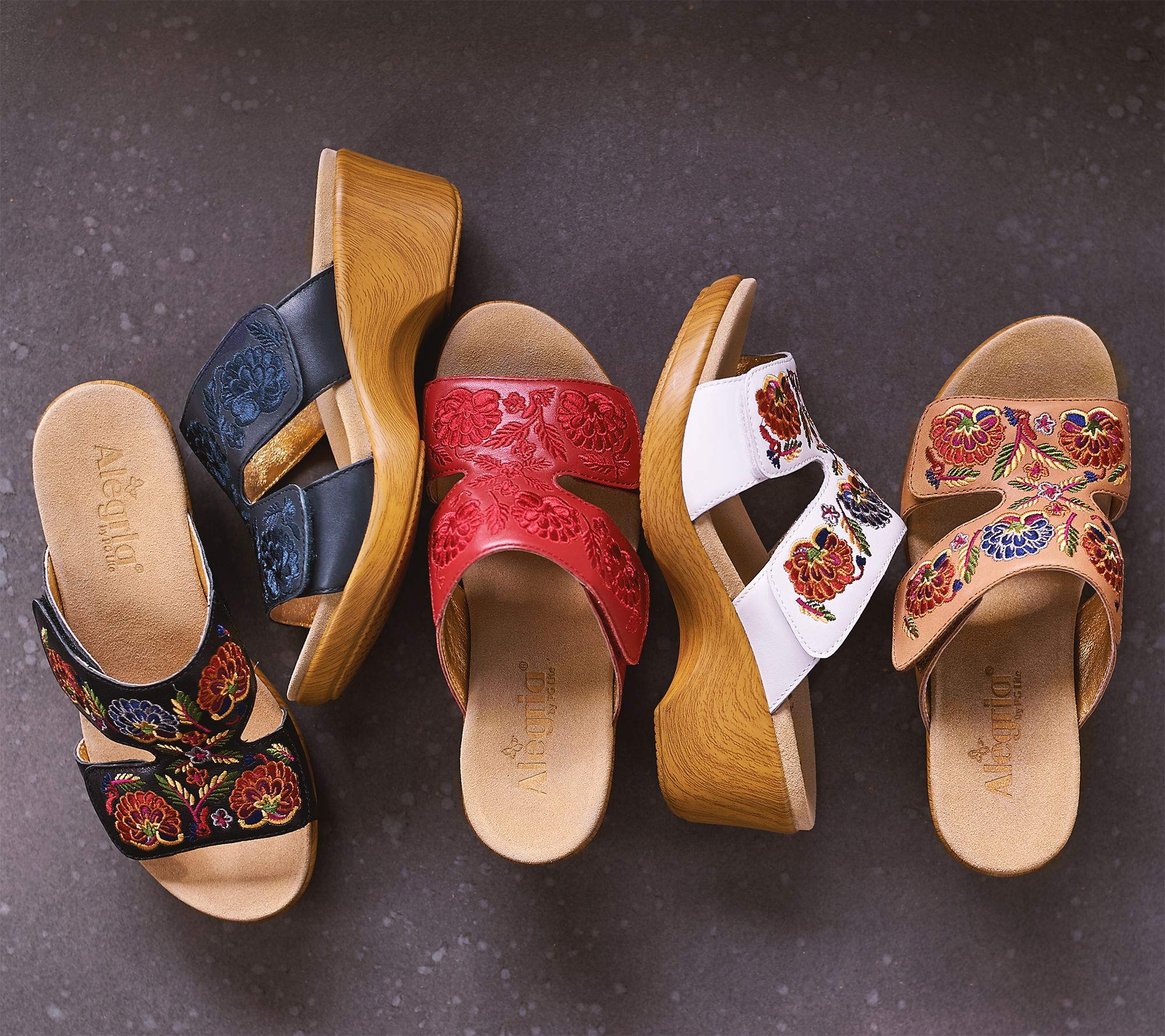 a302d1522b Alegria Embroidered Leather Slip-on Wedge Sandals - Linn - Page 1 — QVC.com
