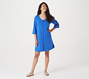 Denim & Co. Beach French Terry Cover-Up with Slit Sleeve Detail - A307088