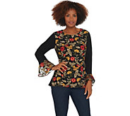 GRAVER Susan Graver Liquid Knit Top w/ Embroidered Mesh Overlay - A310088