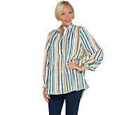 Martha Stewart Watercolor Stripe Long Sleeve Woven Blouse - A342388