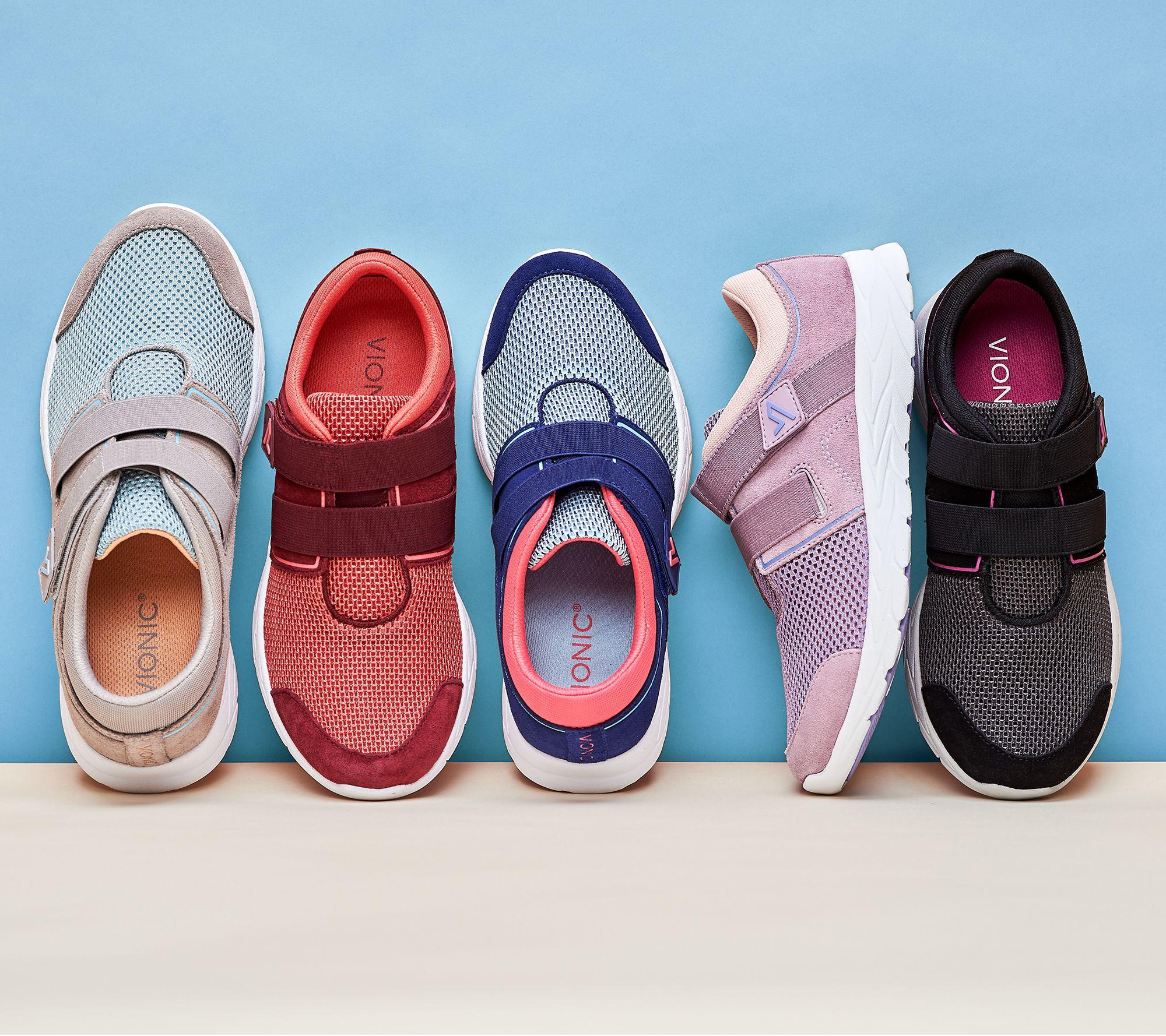 2d894166e9a69 Vionic Suede & Mesh Adjustable Sneakers - Ema — QVC.com