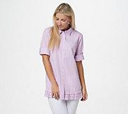 Joan Rivers 3/4-Sleeve Striped Shirt with Ruffle Hem - A351488