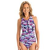 Dolfin Aquashape Print Zip-Front 1-PieceSwimsuit - A423888