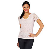 Liz Claiborne New York Eyelet Lace T-Shirt with Lining - A214389