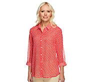 Susan Graver Printed Sheer Chiffon Button Front 3/4 Sleeve Blouse - A230489