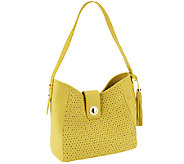 As Is Isaac Mizrahi Live! Bridgehampton Perforated Leather Hobo - A261589