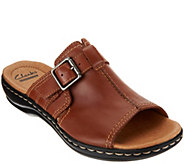 Clarks Leather Slip-on Sandals with Buckle Detail - Leisa Gianna - A276089