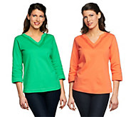 As Is Quacker Factory Set of 2 3/4 Sleeve T-shirts with Sequin Trim - A278189