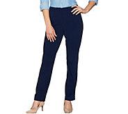 Susan Graver Milano Knit Zip Front Straight Leg Pants - Petite - A281089