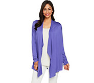 LOGO Layers by Lori Goldstein Draped Front Cardigan with Back Pleats - A288889