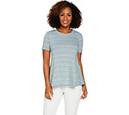 LOGO by Lori Goldstein Slub Knit Stripe Swing Top w/ Pockets - A289089