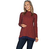 LOGO by Lori Goldstein Sweater Knit Mock Neck Top w/ Lace at Hem - A294489