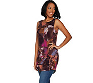 LOGO Layers by Lori Goldstein Printed Tank w/ High Neck & Shirttail Hem - A297089