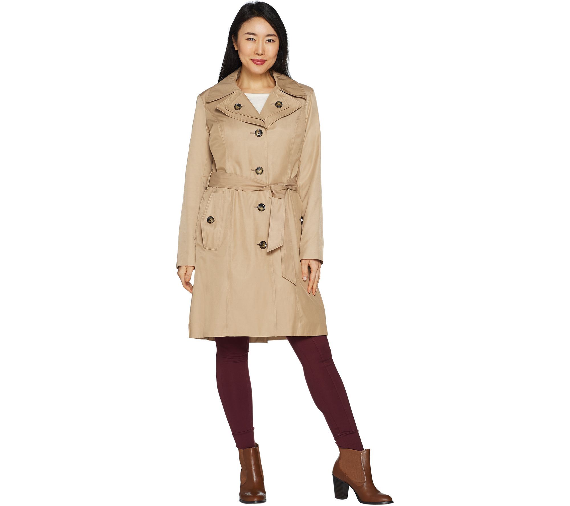 ca1d166d21a London Fog Women s Water Repellent Trench Coat - Page 1 — QVC.com