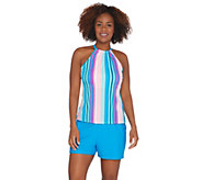 Isaac Mizrahi Live! Striped Halterkini with Swim Short - A303689