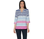 Denim & Co. Watercolor Stripe 3/4 Sleeve Pullover Y-Neck Top - A305389