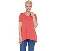 LOGO Lounge by Lori Goldstein Jersey V-neck Top with Rib Side Panels - A305489