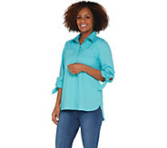 Martha Stewart Stretch Poplin Blouse with 3/4 Tie Sleeves - A307689