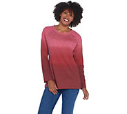 Quacker Factory Dip Dye Ombre Sequin Front French Terry Pullover - A341789