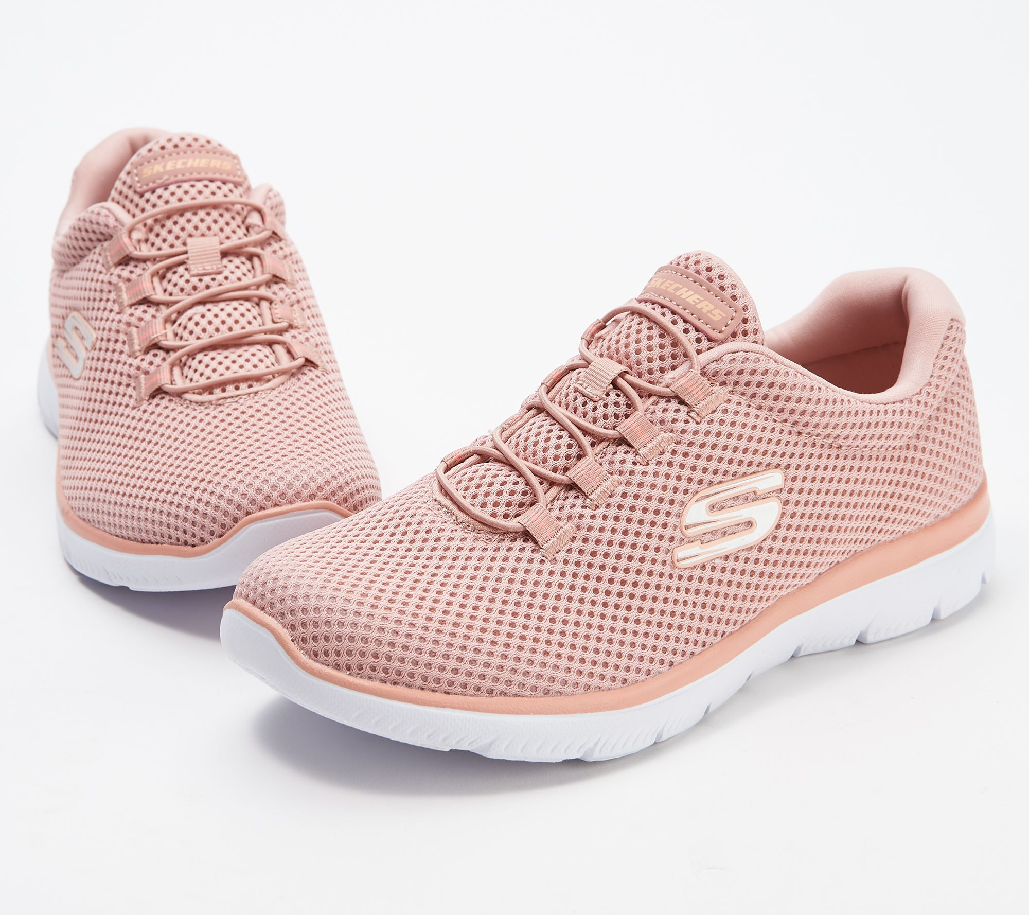 Skechers Pink Mesh Bungee Summits Slip On Sneakers Shoes New Sale