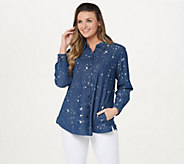 Joan Rivers Denim Shirt with Back Button Details - A350289