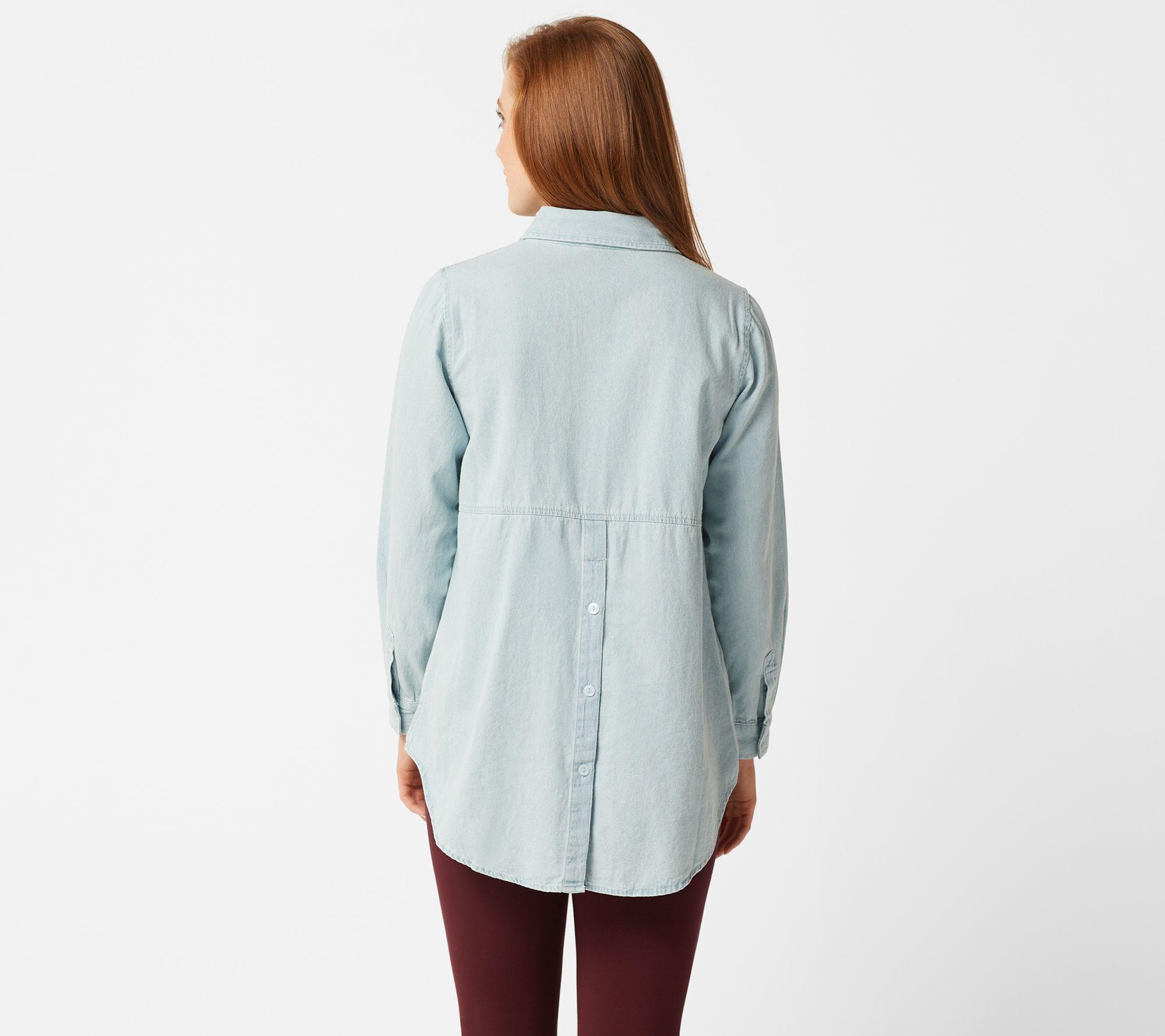 Joan Rivers Denim Shirt with Back Button Details — QVC com