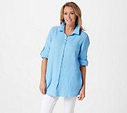 Joan Rivers Crinkle Texture Long-Sleeve Boyfriend Shirt - A351489