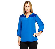 Isaac Mizrahi Live! Quilted Velvet Detail Top - A237890