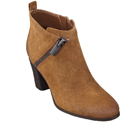 Marc Fisher Distressed Leather Ankle Boots w/ Zipper ...