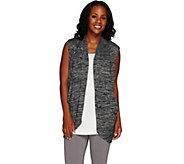 LOGO by Lori Goldstein Space Dye Open Front Sweater Vest - A265590