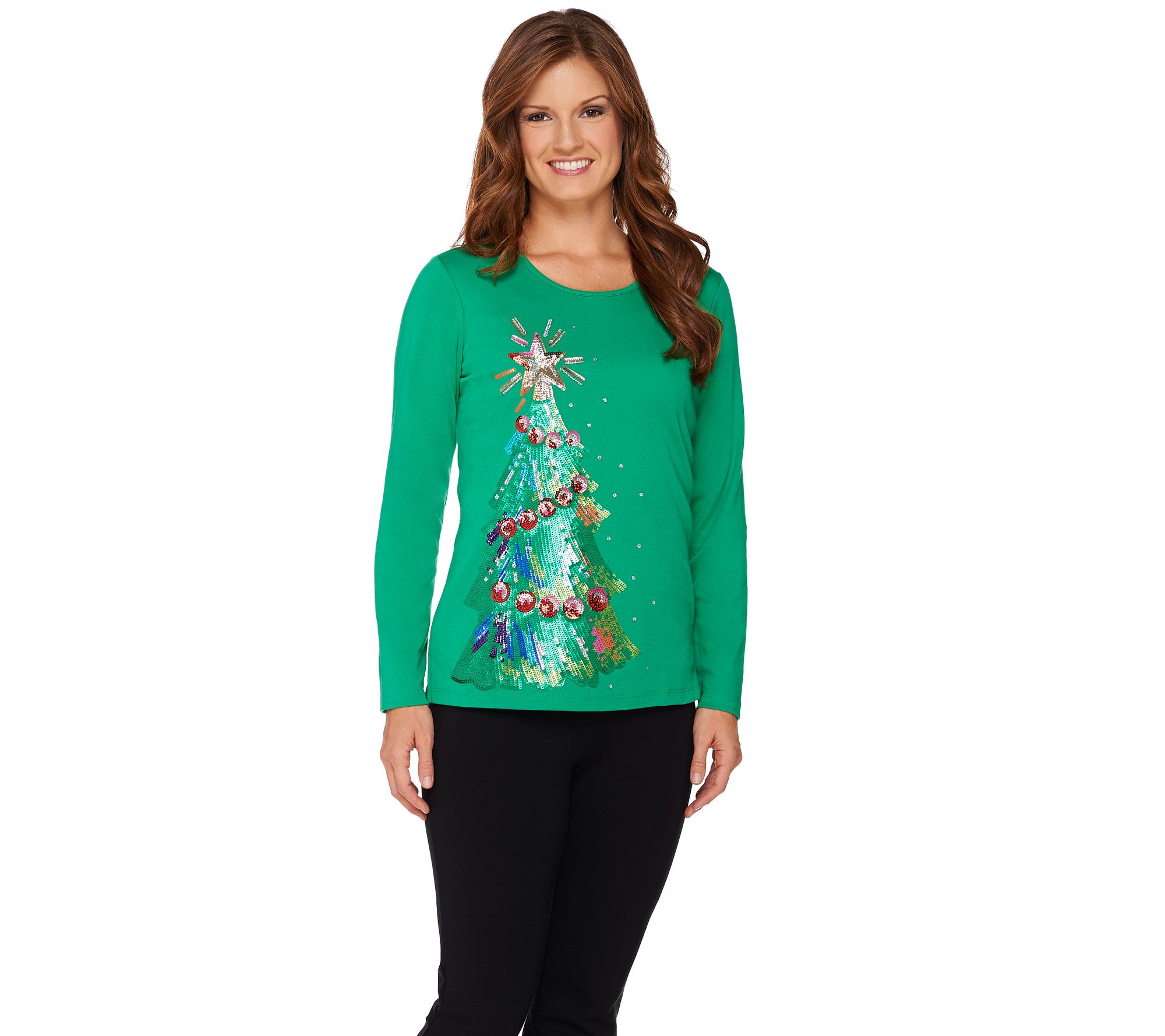 Quacker Factory Holiday Sequin Tree Long Sleeve T-shirt - Page 1 ...