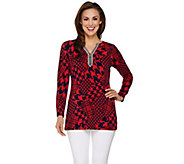 Susan Graver Artisan Printed Liquid Knit Tunic with Embellishment - A272390