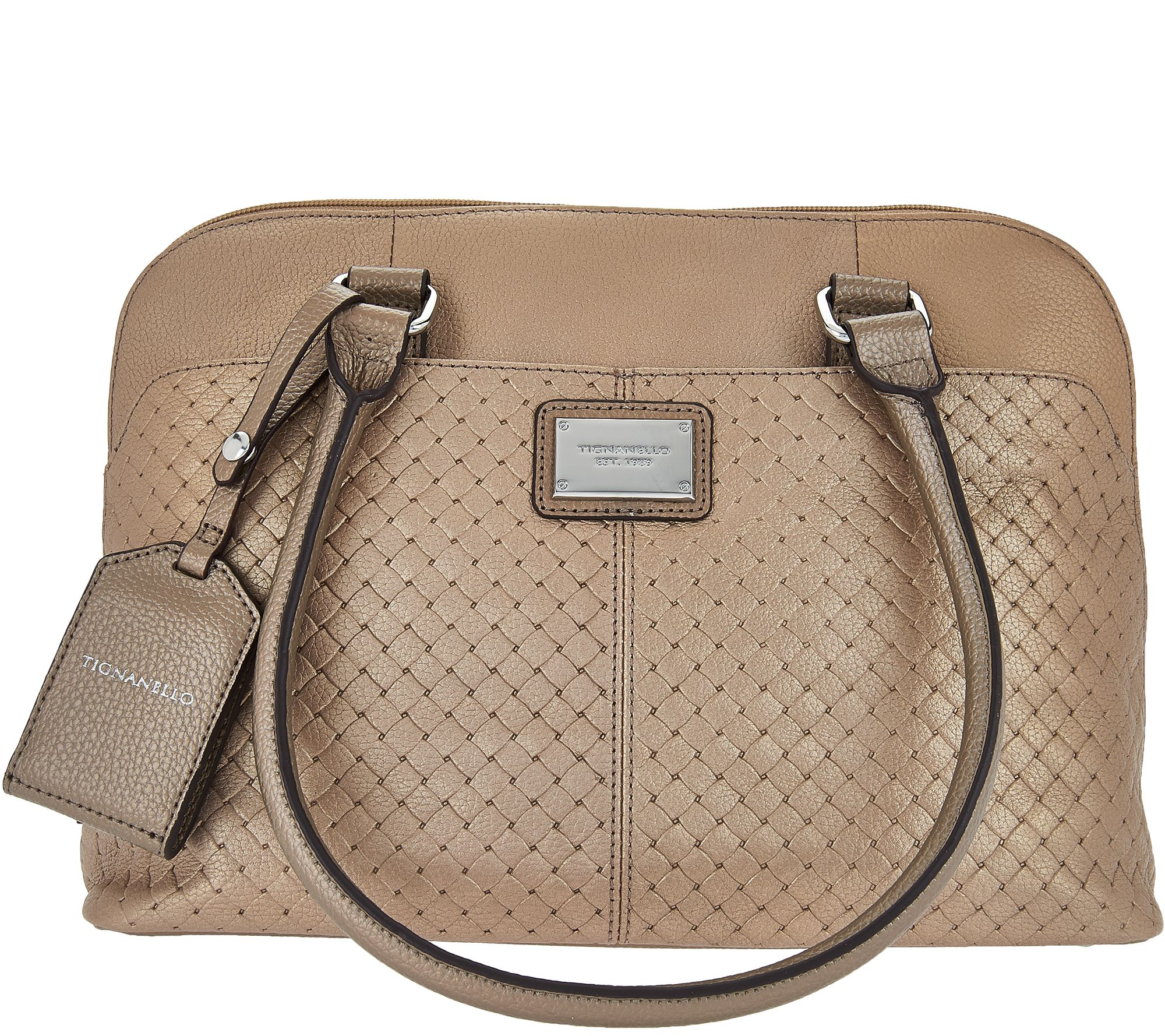 8ef79a6196 Tignanello Pebble Leather Woven Embossed RFID Domed Satchel - Page 1 —  QVC.com