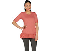 LOGO Lounge by Lori Goldstein French Terry Top with Woven Ruffles - A288890