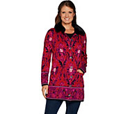 Isaac Mizrahi Live! Damask Jacquard Sweater Coat w/ Faux Fur Collar - A298790